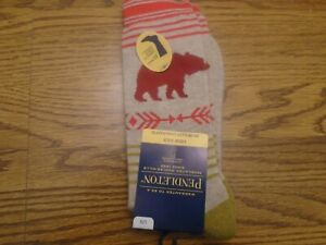 Pendleton  sz. Large unisex acrylic blend tan bear pattern Crew Socks NWT