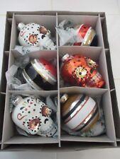Christopher Radko Shiny Brite Halloween Ornaments Sugar Skulls 6 Pc Glass