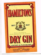 1940s Australia Hamilton's Oaklands Gin Ballins Christchurch New Zealand Label