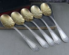 Sterling Silver Gold Wash Shell Bowl Spoon Set - Pat. 1890