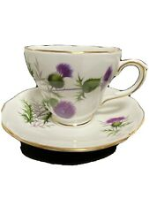 Duchess Tea Cup Saucer Set Bone China Purple Thistle Flower Retired