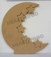 MOON WITH 5 SMALLER STARS INSERT IN MDF (300mm x 18mm thick)/WOODEN CRAFT SHAPE