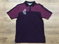 Under Armour Ua Golf Polo Shirt Ss Purple Gray 100% Cotton Upf 30+ Mens Sz L