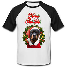 Rottweiler merry Christmas Santa - COTTON BASEBALL TSHIRT