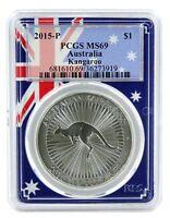 2015 Australia 1oz Silver Kangaroo PCGS MS69 - Flag Frame