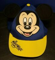 Vintage Walt Disney World Youth Mickey Mouse Hat Ears Kid Blue Yellow Snapback