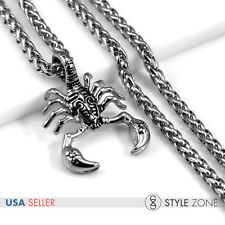 Men's Vintage 3D Gothic Scorpion Stainless Steel Pendant Braid Link Necklace P13