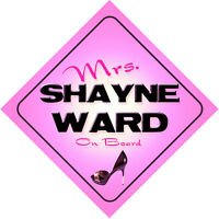 Mrs Shayne Ward on Board Baby Pink Car Sign