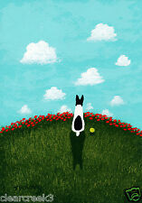 Rat Terrier Dog Jack Russell Parson Large Folk Art Print Todd Young Red Poppies