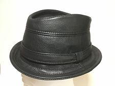 Jill Corbett trilby hat + band uber black leather Handmade UK to order S M 1de1a75d4bd3