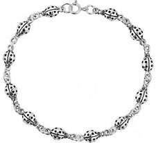 925 Sterling Silver Cute And Charming Ladybug Link Bracelet 7.5 inches For Women