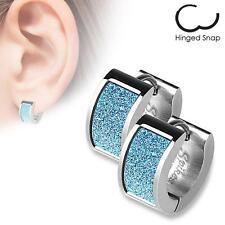 Pair of Stainless Steel Earrings Square Blue Sand Sparkle Hinged Hoop H115