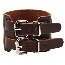 Unisex's Men Punk Wide Leather Cuff Bangle Clasp Cool Bracelet Wristband Jewelry