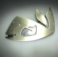 Kim Craftsmen NY Mid Century Modernist Sterling Silver Whale Brooch Pin