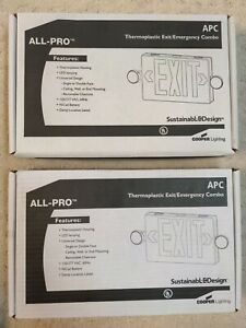 LOT OF 2 - COOPER LIGHTING APC ALL-PRO THERMOPLASTIC EXIT/EMERGENCY COMBO #APC7R