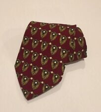 Valentino Silk Neck Tie Burgundy Maroon Print Necktie NWOT
