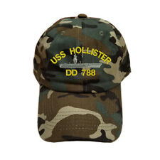 COTTON GREEN CAMO CAMOUFLAGE USS HOLLISTER DD 788 BATTLESHIP CAP HAT