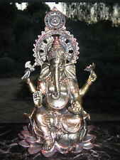 Lord Ganesha Seated in Lalitasana Posture on Lotus Pedestal Sculpture Figurine