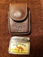 Vintage Camel Cigarette Lighter With Leather Case  Pre-owned