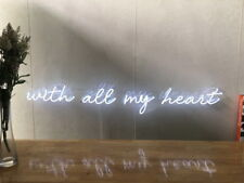 New With All My Heart Neon Sign For Bedroom Wall Home Decor Artwork With Dimmer