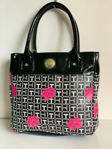 NEW! TOMMY HILFIGER BLACK PINK FLORAL SMALL SHOPPER TOTE BAG PURSE $69 SALE