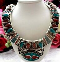 Tibetan Silver, Turquoise, Red Coral Gemstone Ethnic Handmade Jewelry  Necklace