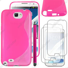 Housse Etui Coque Silicone S-line Rose Samsung Galaxy Note 2 + Stylet + 3 Films