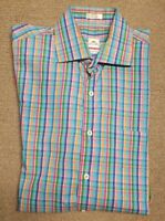 Peter Millar Weekender Finish Mens Multi Color Check Dress Button Shirt Sz M Med