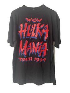 Vintage WCW 1994 HULK HOGAN Hulkamania Tour Single Stitch Rap Tee Shirt WWF READ