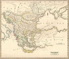 1848 Ca ANTIQUE  MAP-H/COL- TURKEY IN EUROPE