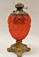 Antique Victorian RUBY RED GLASS Embossed Kerosene Oil Lamp Banquet GWTW.