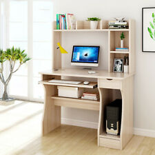 Small Corner Computer Desk PC Laptop Table Workstation Office Home Shelves Wood