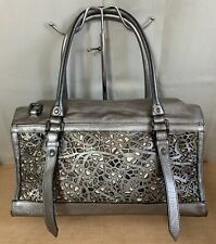 Burberry Pewter Metallic Lazer Cut Leather Check Large Tote Shoulder Bag