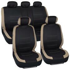 Black & Beige Car Seat Cover Set Two Tone Design Front & Rear Seats Sedan Truck