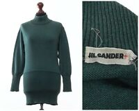 80s Vintage Women's JIL SANDER Sweater Jumper High Neck Green Size EU 38 US 8