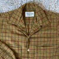 Puritan Vintage 60s Small Aquawool Button Front Shirt Brown Plaid Rockabilly