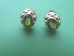 PRETTY 9CT GOLD CITRINE SOLITAIRE EARRINGS