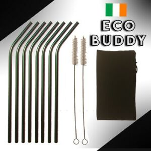 Eco Friendly Stainless Steel Drinking Straws, 2-8 Metal Straws, Multiple Colours