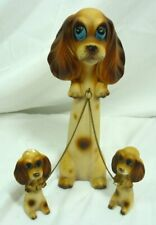 MCM Kitch Dog with Pups on chain Ceramic Figurines Made Japan 20C037