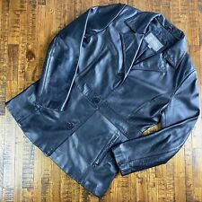 Wilson Leather Jacket Black Coat Button Vintage Pockets Flaws Womens Size Large