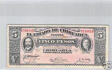 MEXIQUE EL ESTADO DE CHIHUAHUA 5 PESOS JUIN 1915 N° 2126815 PICK S 532 A