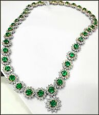 $150000 Natural Emerald necklace 18K Gold Diamond Earring estate  watch video