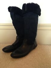 SHOFOLK Suede and Leather Black Boots with faux fur lining - Size 3 (EURO 36)