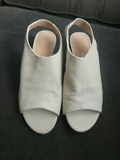 Clark's 9.5 Sling Back Ivory Shoes Women's Low Wedge Open Toe Cream Leather