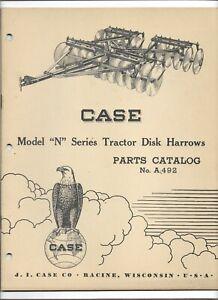 Original 10-1952 Case Model N Series Tractor Disk Harrow Parts Catalog Form A492