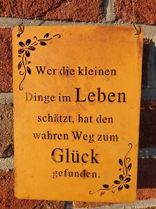 Edelrost Schild Tafel Spruch Garten Deko Leben Glück