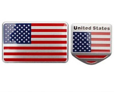 2 AMERICAN FLAGS METAL CHROME FINISH 3D EMBLEM DECAL STICKER LOGO FOR CARS