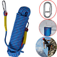30M 12KN Rock Climbing Rappelling Abseiling Rope Cords Carving Rescue Safety