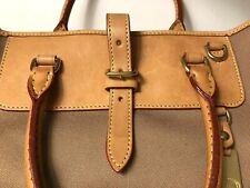DOONEY & BOURKE EDITOR Black Nylon Khaki Leather Shopper Tote Purse Bag, EUC