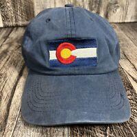 Colorado Flag Hat Cap Blue Adjustable Distressed Strap Back One Size Fits OSFM